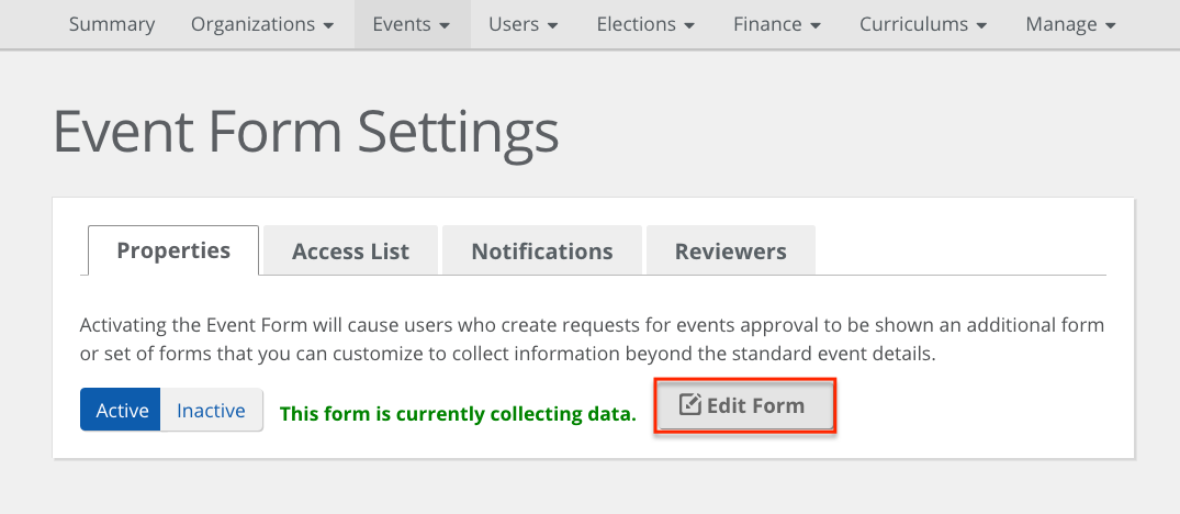 Setting up your event request form CollegiateLink Help Center – Request Form