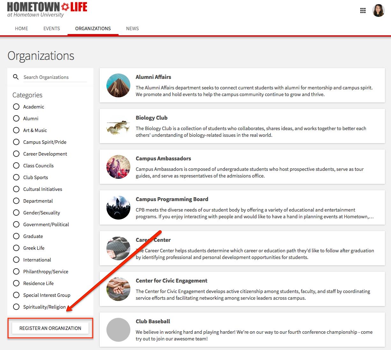 Clicking Register An Organization Will Start Your Organization Registration Process