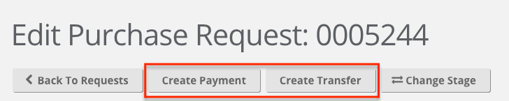 A screenshot displaying the transaction buttons within an approved request.