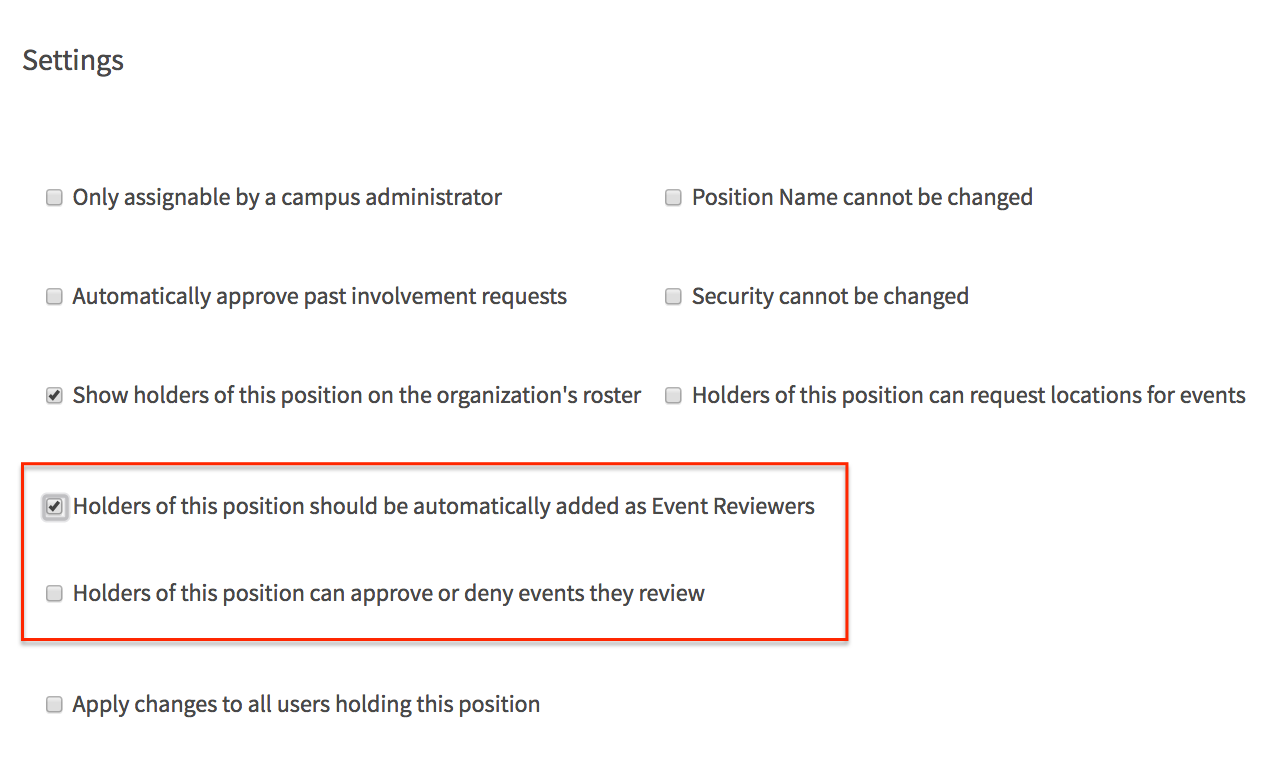a screenshot of the position template configuration page highlighting event reviewer options