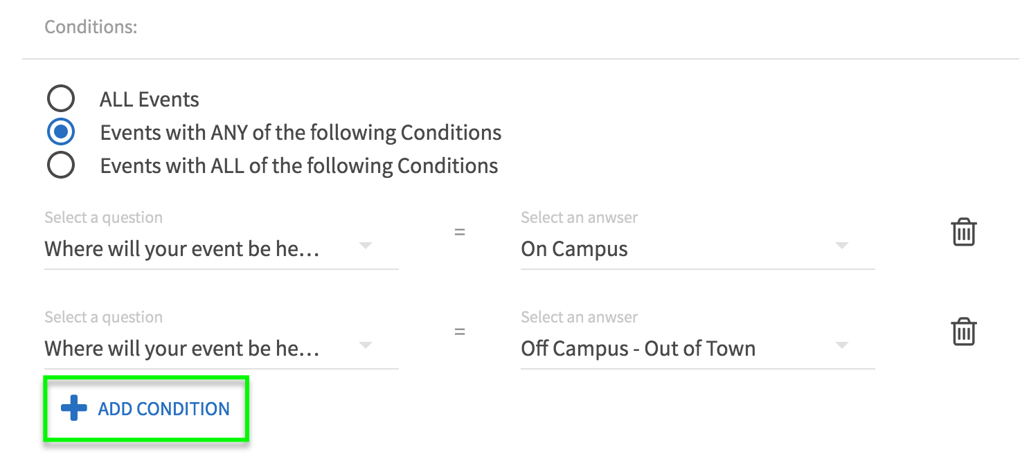 a screenshot displaying a reviewer with conditional logic such to add them to a submission when an event is on campus OR off campus - out of town