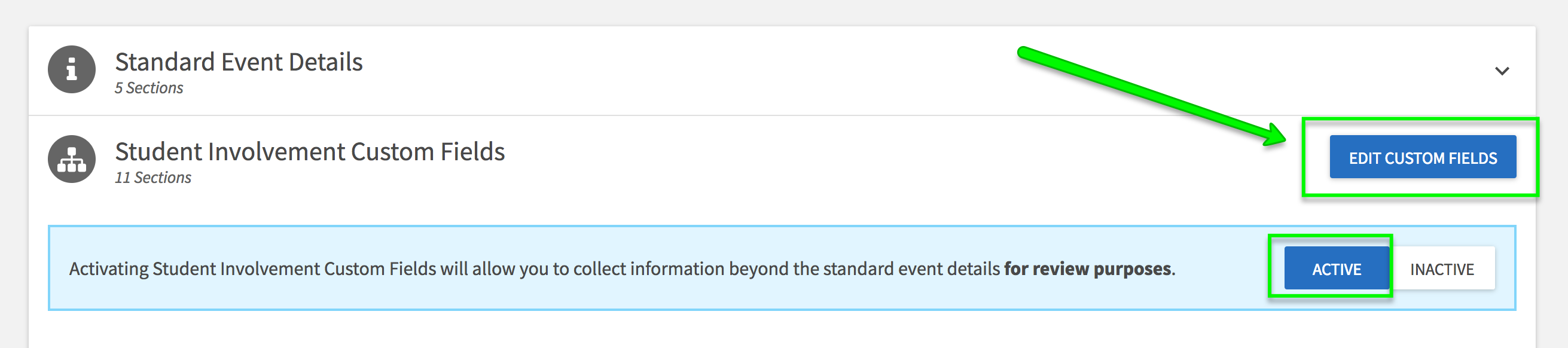 A screenshot pointing to editing custom fields on the event submission process setup