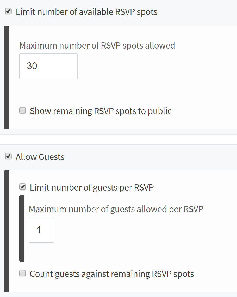 a screenshot of the RSVP guest limit configuration